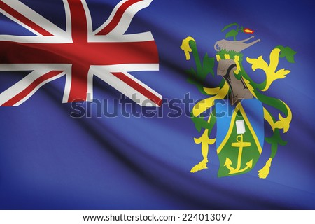 Flag blowing in the wind series - Pitcairn Island - stock photo