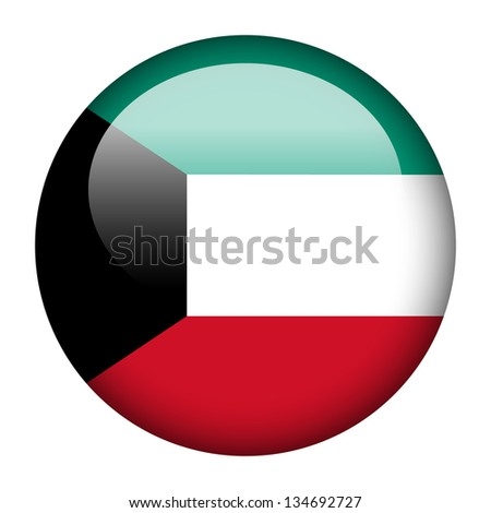 Flag button illustration - Kuwait - stock photo