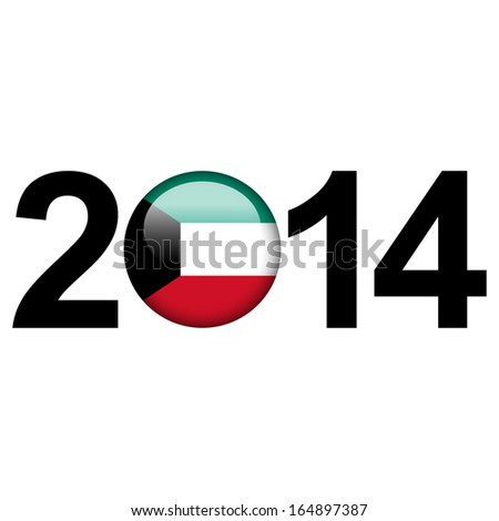 Flag button illustration with year - Kuwait - stock photo