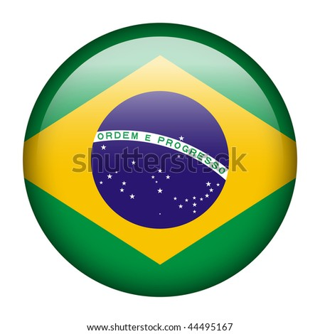 Flag button series of all sovereign countries - Brazil - stock photo