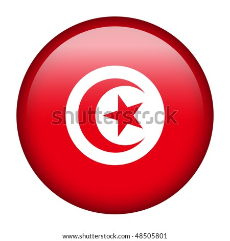 Flag button series of all sovereign countries - Tunisia - stock photo