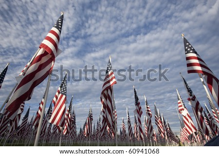 Flag ceremony commemorating September 11 and other national holidays. - stock photo
