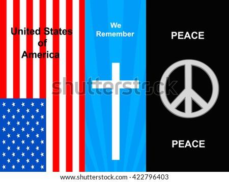 Flag, Cross, PEACE - stock photo