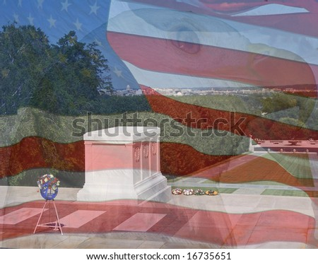 Flag, Eagle, Tomb of the Unknowns. Composite of three photos taken by the author. - stock photo