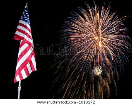 Flag Fireworks 4 - stock photo