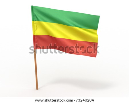 flag fluttering in the wind. Ethiopia. 3d - stock photo