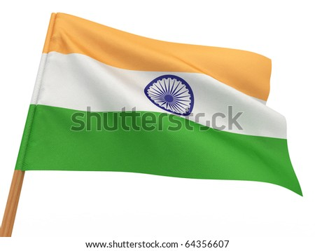 flag fluttering in the wind. India. 3d - stock photo