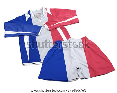 Flag from France on polyester nylon soccer sportswear shorts and sweet shirt isolated on white ( clipping path ) - stock photo