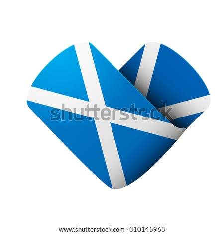 flag icon in the form of heart. I love Scotland. Illustration Isolated on white background. - stock photo
