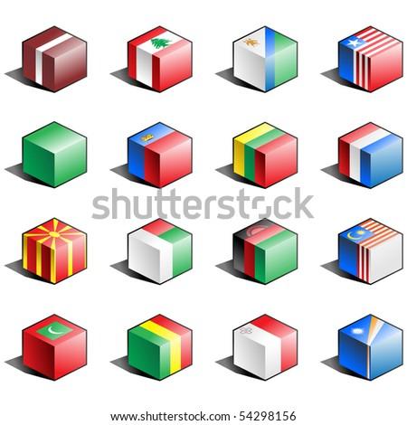 Flag icon set (part 7) Latvia, Lebanon, Lesotho, Liberia, Libya, Liechtenstein, Lithuania, Luxemburg, Macedonia, Madagascar, Malawi, Malaysia, Maldives, Mali, Malta, Marshall Islands - stock photo