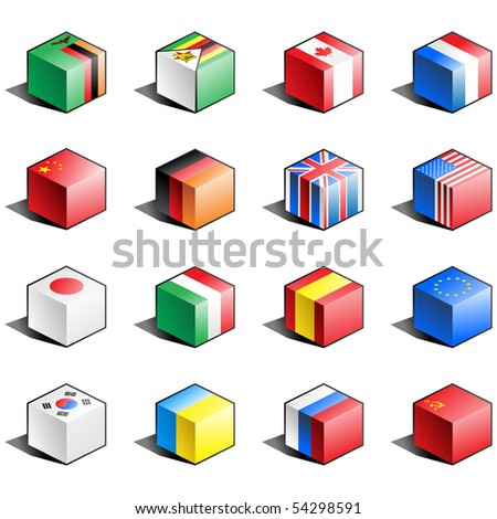 Flag icon set (part 13) Zambia, Zimbabwe, Canada, France, China, Germany, Great Britain, USA, Japan, Italy, Spain, EU, South Korea, Ukraine, Russia, USSR - stock photo