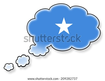 Flag in the cloud, isolated on white background, flag of Somalia - stock photo