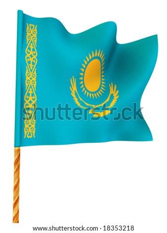 Flag. Kazakhstan.  3d - stock photo