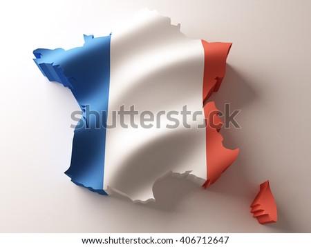 Flag map of France on white background. 3d illustration. - stock photo