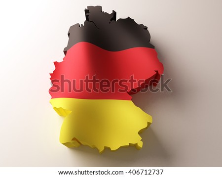 Flag map of Germany on white background. 3d illustration. - stock photo