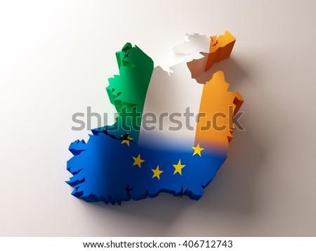 Flag map of Ireland and European Union on white background. 3d illustration - stock photo