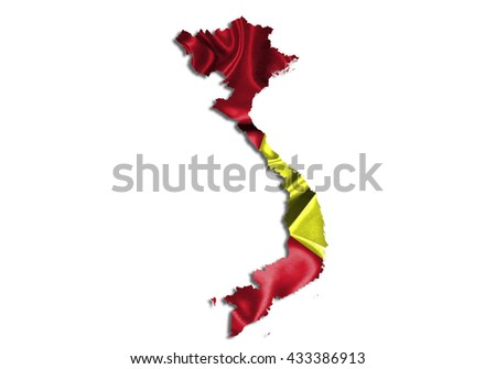 Flag map-vietnam country on white background. - stock photo