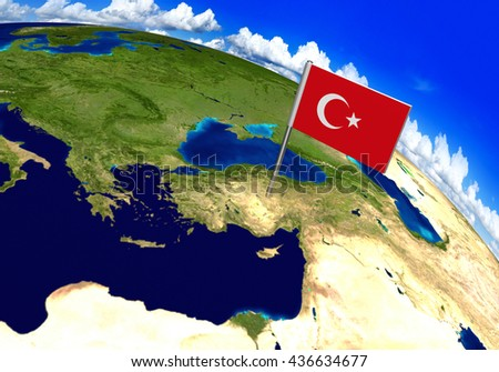 Flag marker over country of Turkey on world map 3D rendering, parts of this image furnished by NASA - stock photo