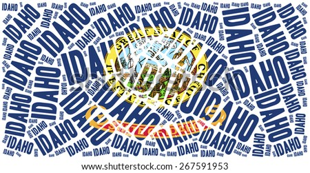 Flag of American state - Idaho. Word cloud illustration. - stock photo