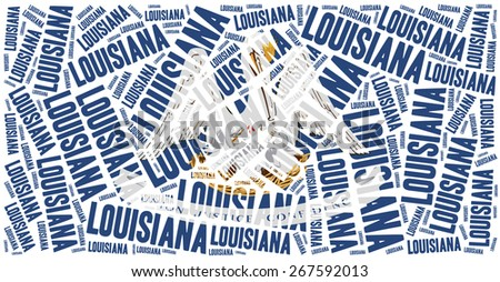 Flag of American state - Louisiana. Word cloud illustration. - stock photo