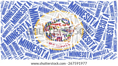 Flag of American state - Minnesota. Word cloud illustration. - stock photo
