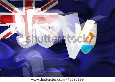 Flag of Anguilla , national country symbol illustration wavy gov government website - stock photo
