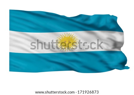 Flag of Argentina flying high in the sky. - stock photo