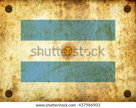 Flag of Argentina painted on a rusty plate with screws, aged by time-3d illustration (2) - stock photo