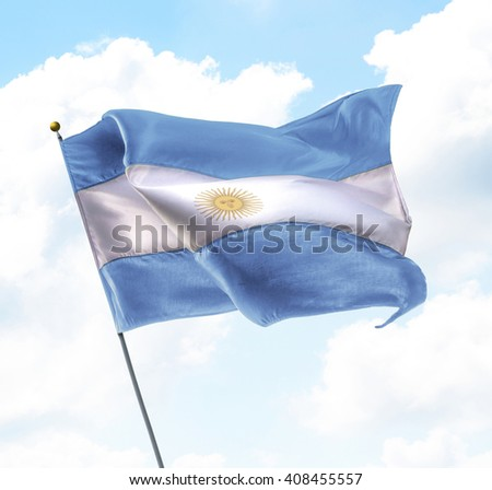 Flag of Argentina Raised Up in The Sky - stock photo