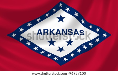 Flag of Arkansas state waving in the wind detail - stock photo