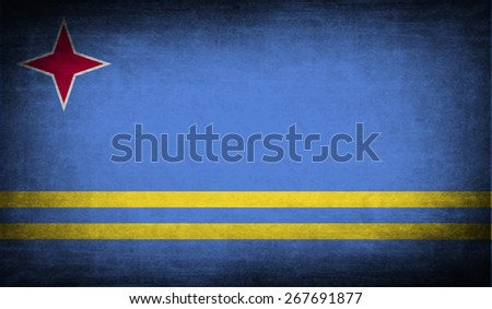 Flag of Aruba with old texture.  illustration - stock photo