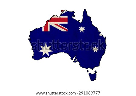 Flag of Australia in Australia map with vintage old paper, isolate on white - stock photo