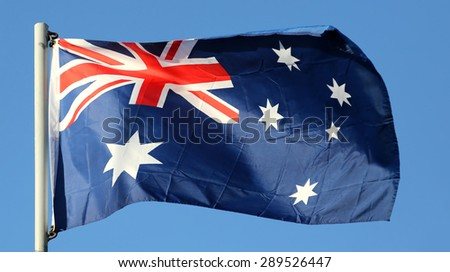 Flag of Australia in the sun  - stock photo