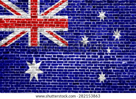 Flag of Australia painted on brick wall, background texture - stock photo