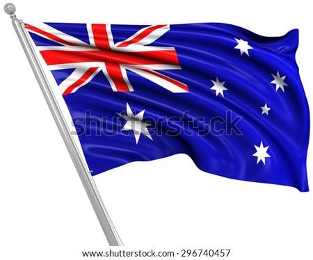 Flag of Australia , This is a computer generated and 3d rendered picture. - stock photo