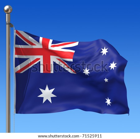 Flag of Australia with flag pole waving in the wind against blue sky. Three-dimensional rendering illustration. - stock photo
