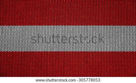 Flag of Austria, Austrian flag painted on texture with stitches. - stock photo