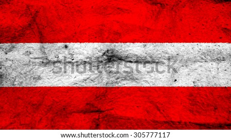 Flag of Austria, Austrian flag painted on wool texture. - stock photo
