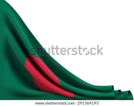 Flag of Bangladesh moved to make room on  white background - stock photo