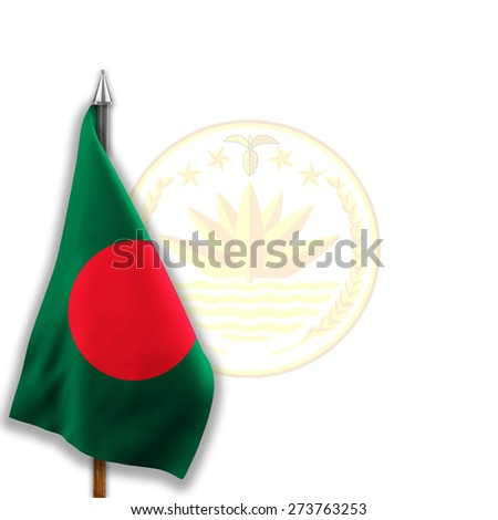 Flag of  Bangladesh with National emblems  Coat of arms on the background - stock photo