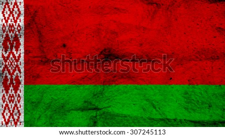 Flag of Belarus, Belarusian flag painted on wool texture. - stock photo