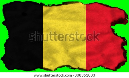 Flag of Belgium, Belgium flag painted on old paper texture. - stock photo