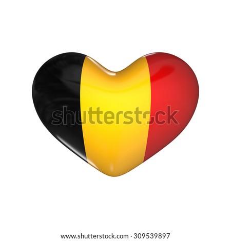 flag of Belgium on the heart. 3d render illustration - stock photo