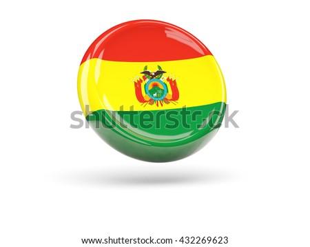 Flag of bolivia, round icon. 3D illustration - stock photo
