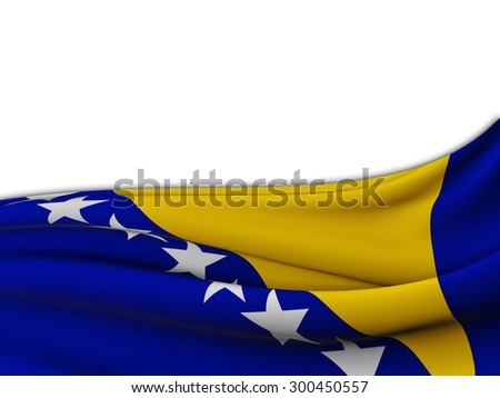 Flag of Bosnia and Herzegovina with wave pattern of the sea on a white background - stock photo