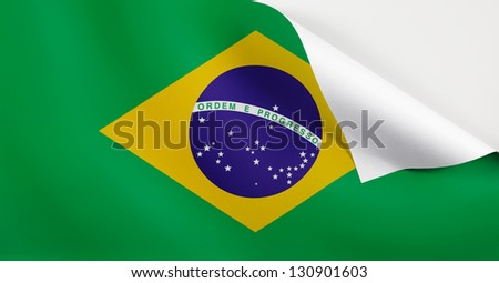 Flag of Brazil with a curl at the corner with blank space for text. - stock photo