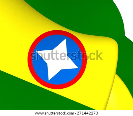Flag of Bucaramanga, Colombia. Close Up. - stock photo