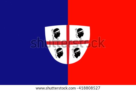 Flag of Cagliari is an Italian municipality and the capital of the island of Sardinia, an autonomous region of Italy - stock photo