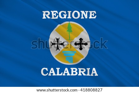 Flag of Calabria is a region in Southern Italy - stock photo