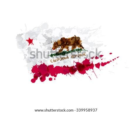 Flag of California, USA made of colorful splashes - stock photo